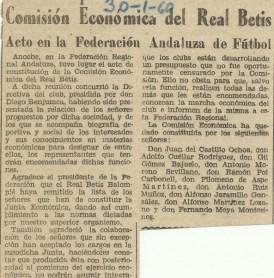 1960-Enero 29.-Constitución Económica Real Betis Balompié.-56Aniversario.