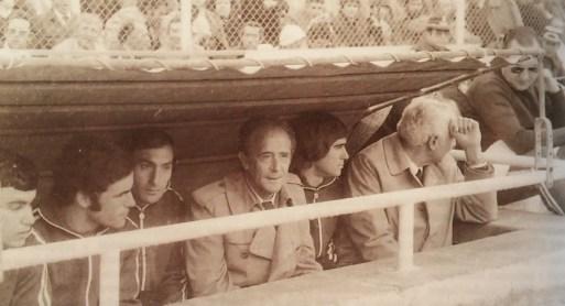 Banquillo bético en el Sánchez Pizjuán 1977
