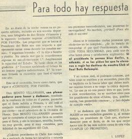 """""""Para todo hay respuesta""""-Revista Afición Bética """"Verde y Blanco"""" Agosto-1962"""
