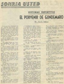"""Sonría Usted-Historias Deportivas """"El Porvenir de Gundemaro"""" por Agustín Embuena 1962-1963."""