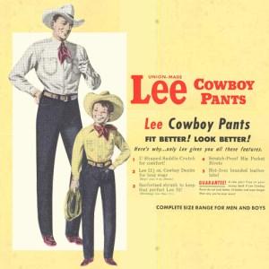 Vintage advertorial for LEE's cowboy jeans
