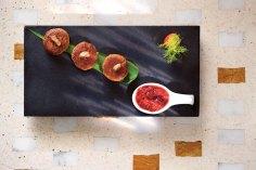 foie-gras-stuffed-galawat,-strawberry-green-chilli-chutney---indian-accent