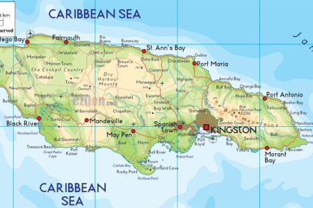 large detailed physical and road map of jamaica with cities
