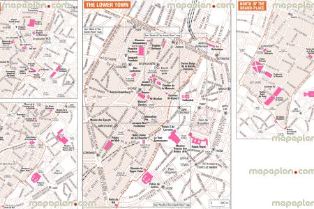 brussels top tourist attractions map 14 lower town attraction area west north grand place visitor detailed
