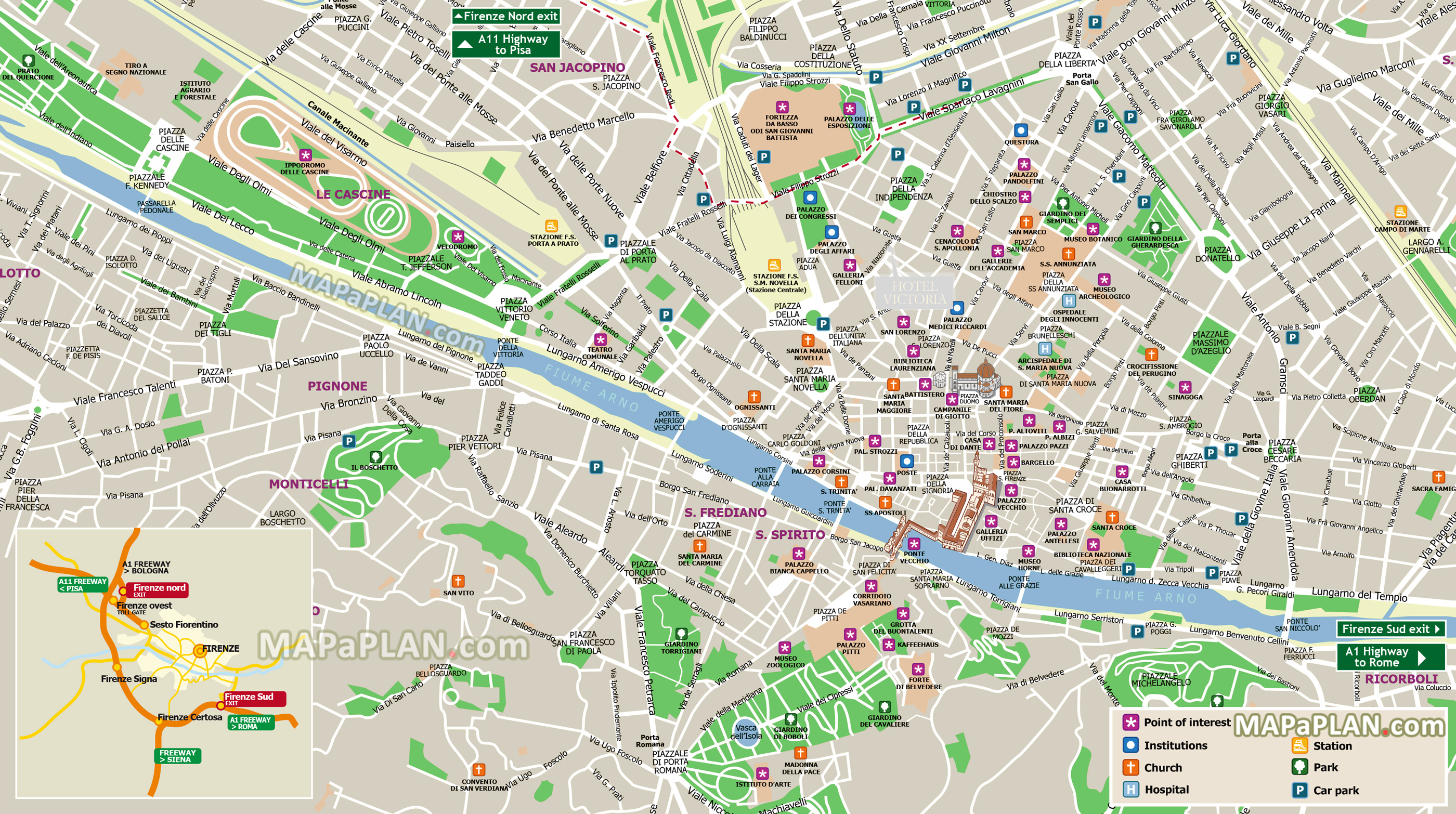 map rome florence