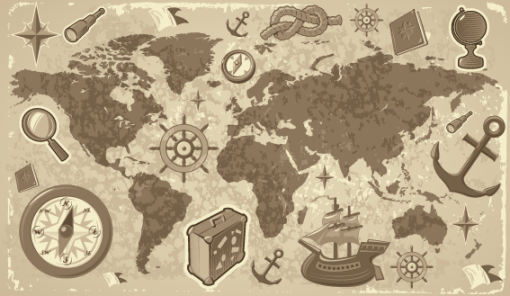 Mapa Mundi viagem com desenhos