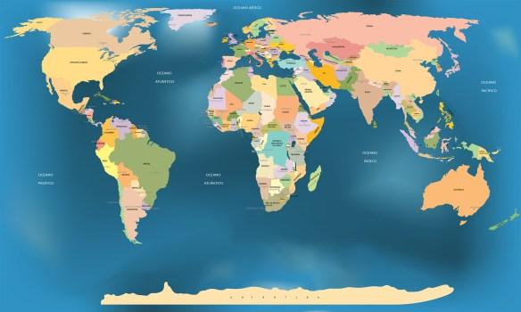 mapa mundi com paises e capitais - adesivo de parede - fundo adaptado