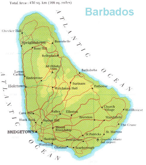 map with barbados