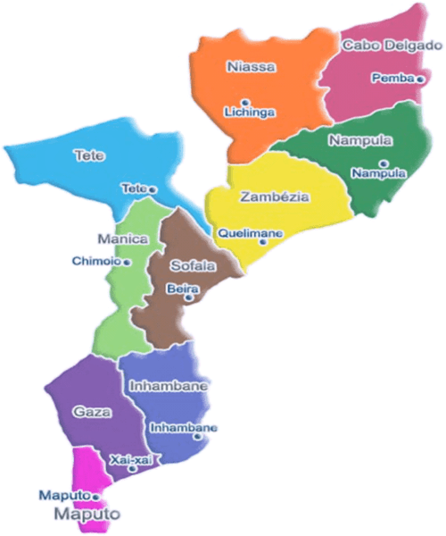 map to mozambique