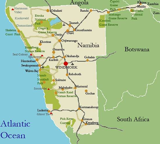 map to namibia