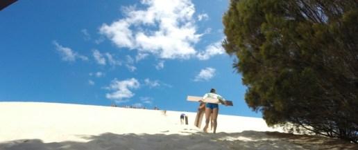 Sand tobogganing on Moreton Island!