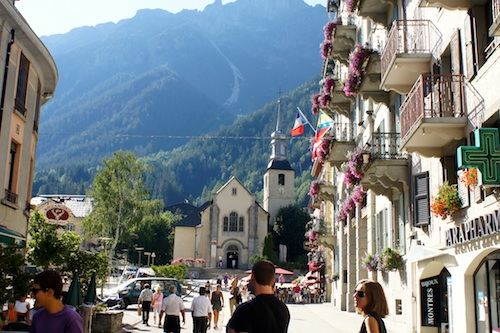 church in center of Chamonix