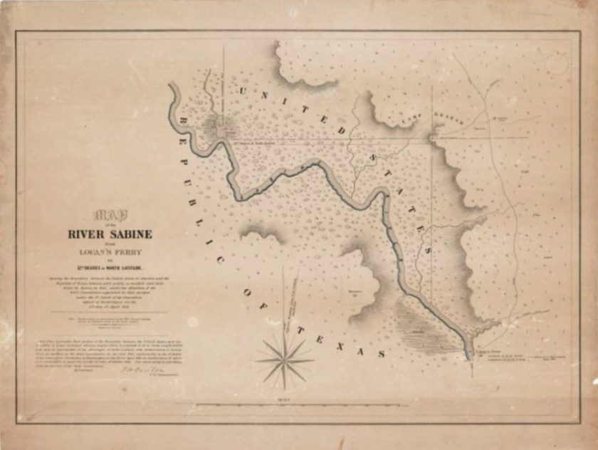 Map of the River Sabine from Logan's Ferry to 32nd degree of North Latitude