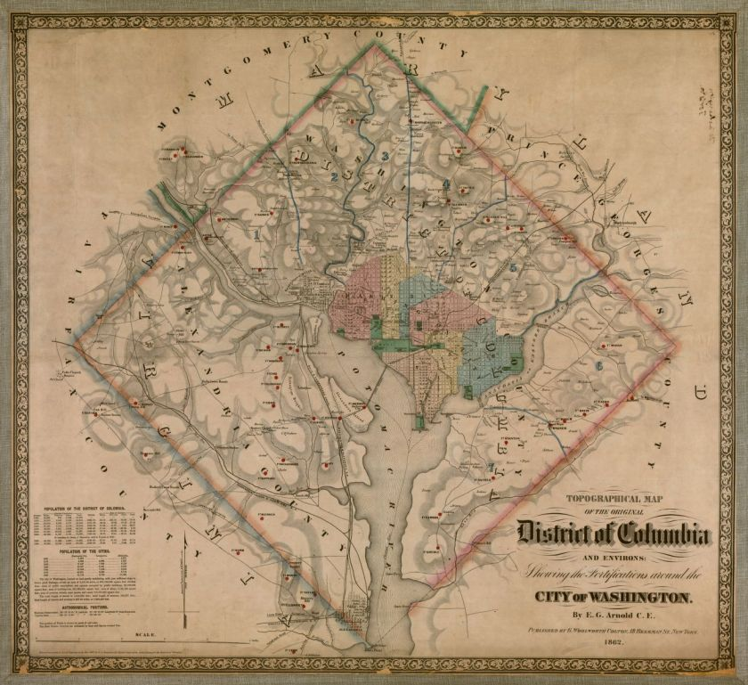 E.G. Arnold, Topographical Map of the Original District of Columbia and Environs, 1862. Map, 74 × 81 cm. Library of Congress.
