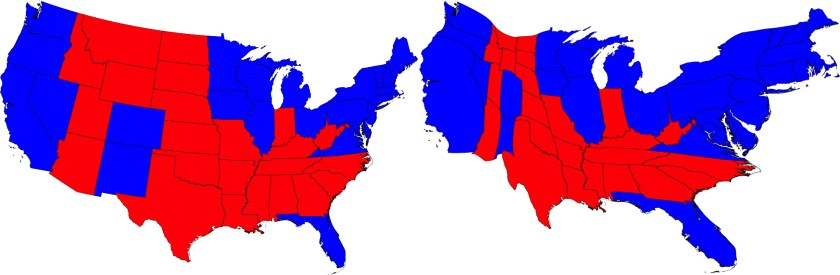 2012 U.S. presidential results. At right, a cartogram scaled by electoral vote. Maps by Mark Newman.