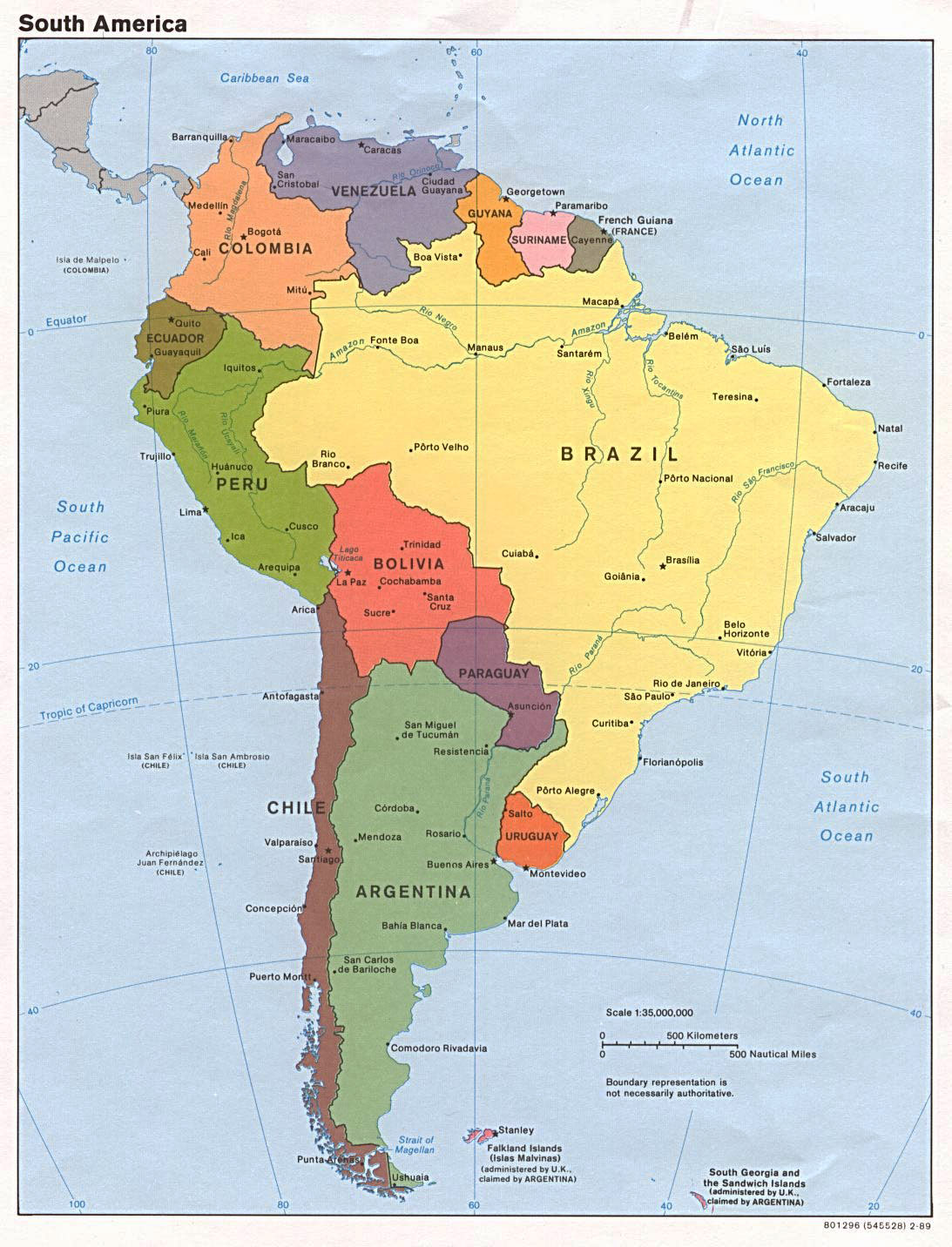 map to south america