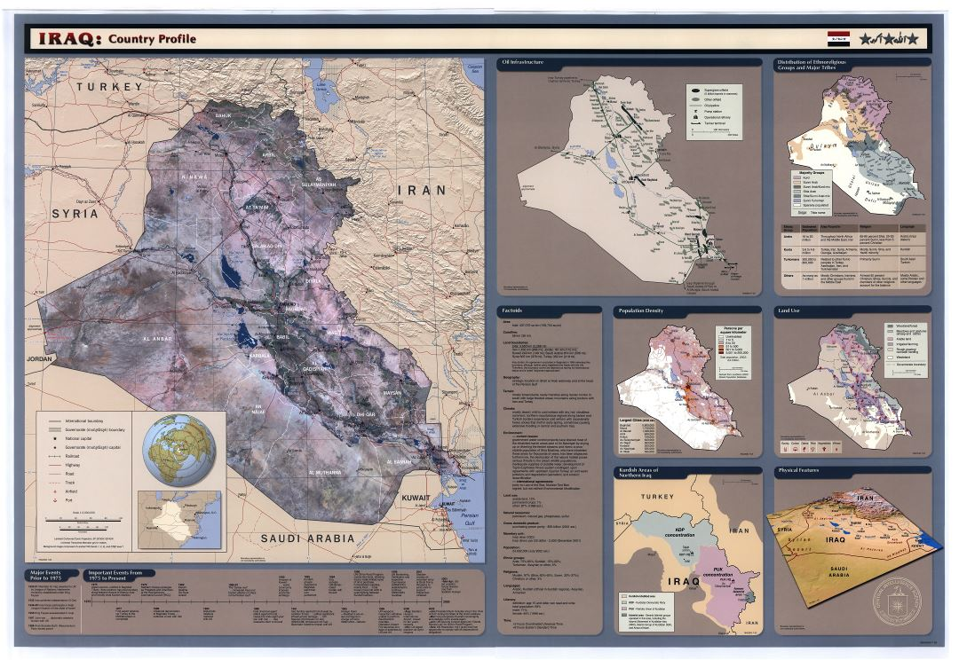 Large scale detailed country profile map of Iraq   2003   Iraq     Large scale detailed country profile map of Iraq   2003