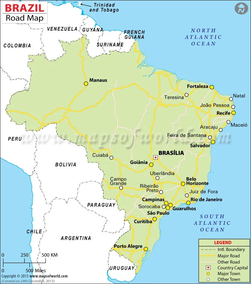 map showing brazil