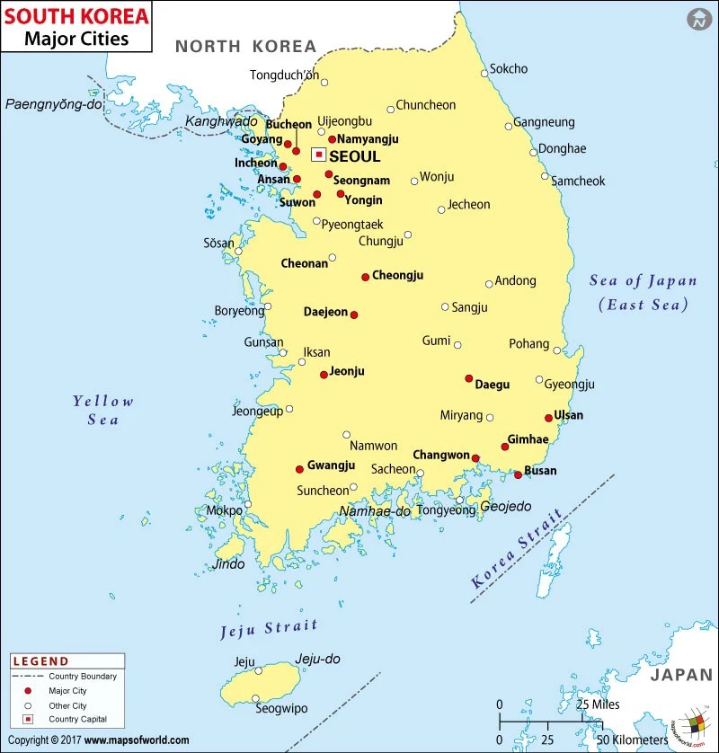 map south korean cities