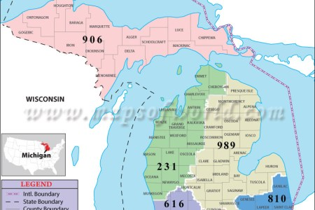 Map Of Wi And Mi - Area code wisconsin map