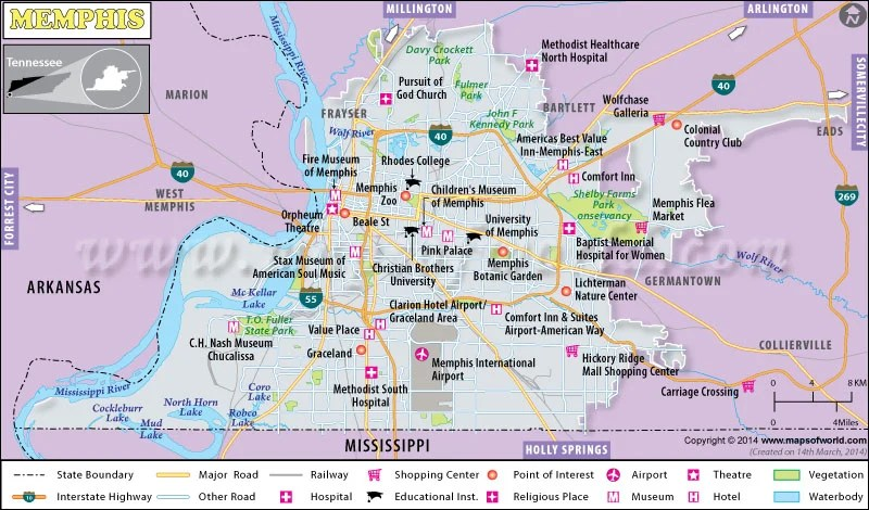 Memphis Maps And Orientation Memphis Tennessee TN USA FileMap Of
