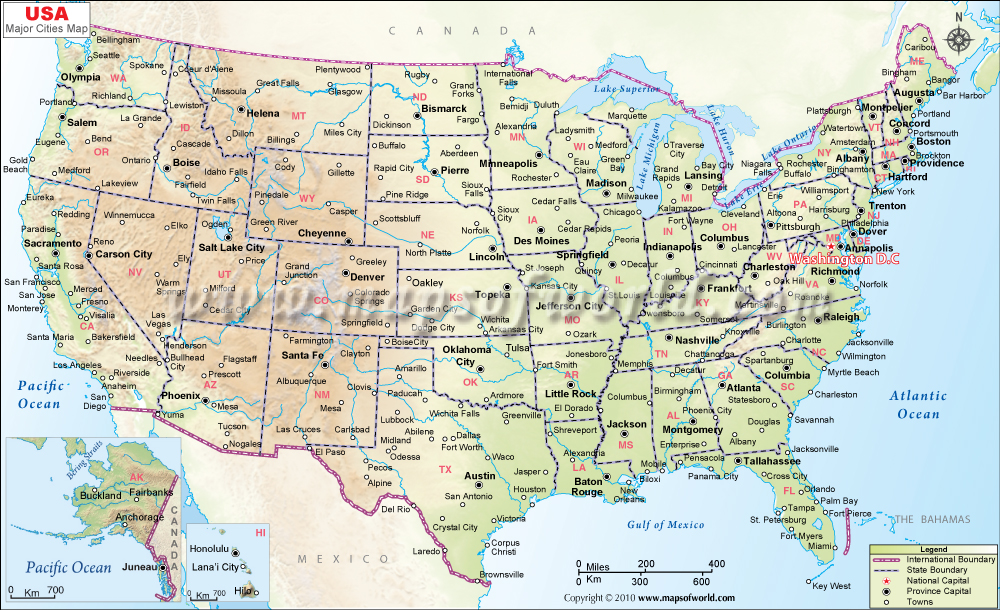 map of usa with states and cities and rivers