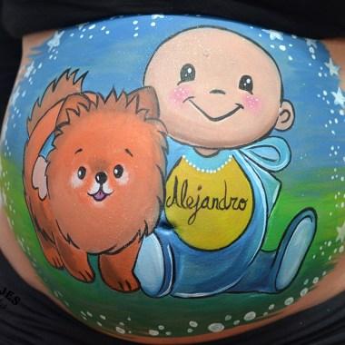 Belly painting niño y perro