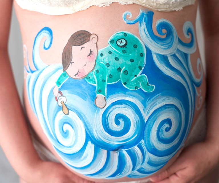 Maquillaje barriguita embarazada bebe