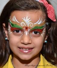 Maquillaje infantil fantasía rojo y verde