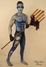 Tritón con tridente realizado en tonos plata y azules