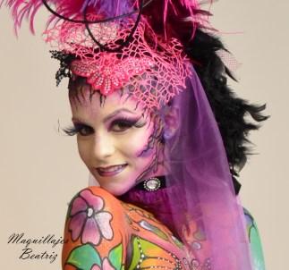 Cara de un body paint realizado por Beatriz Martínez