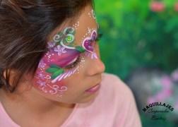 Maquillaje infantil de princesa en tonos pasteles