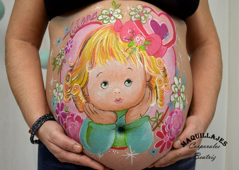 Dulce belly painting en tonos pasteles