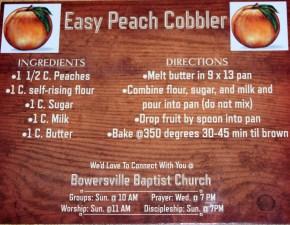 Bowersville Baptist Church Cobbler Recipe