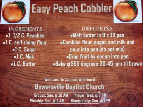 Bowersville Baptist Church Cobbler Recipe