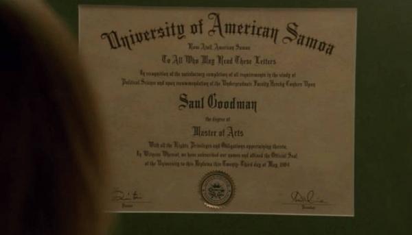 O diploma da Universidade da Samoa Americana