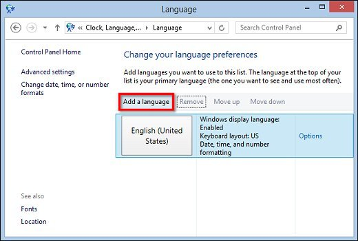 Image of Add a language button selection in Language window