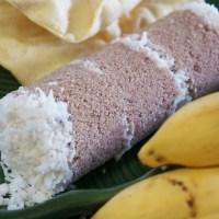 Puttu, Pazham and Pappadam - Steamed Rice Flour Cake with Coconut
