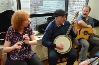 Irish folk musicians performing