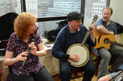 Irish folk musicians performing