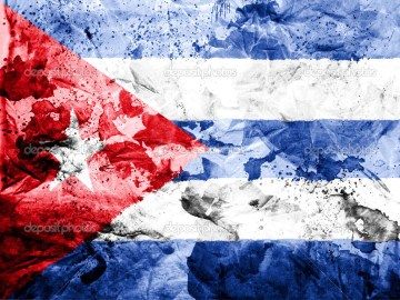 Cuba. Cuban flag  painted dirty and grungy paper