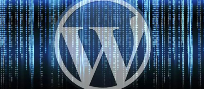 wordpress logo with matrix background