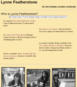 Lynne Featherstone's first website