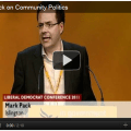 Mark Pack speaking at Liberal Democrat conference: screenshot