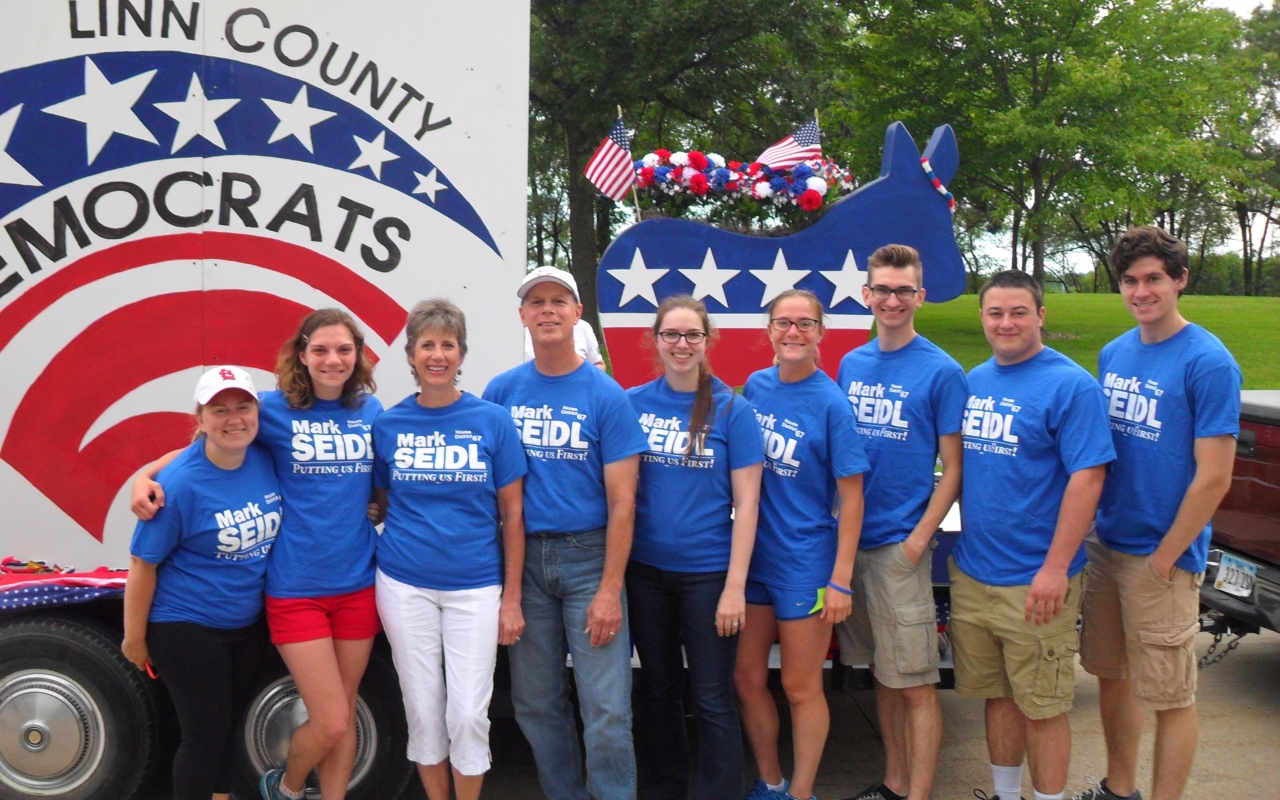 Mark Seidl with Linn County Democrats Freedom Fest Parade