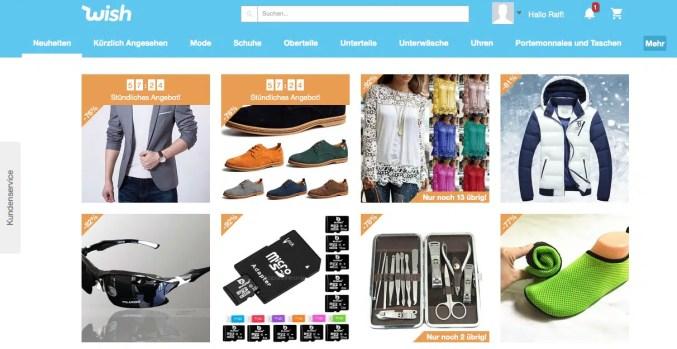 Wish.com Marktplatz Screenshot