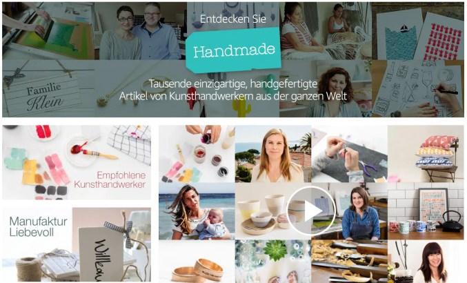 Screenshot: Handmade at Amazon (www.amazon.de/handmade)