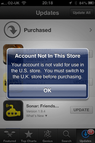 Account Not in This Store Your account is not valid for use in the U.S. store. You must switch to the U.K. store before purchasing. 
