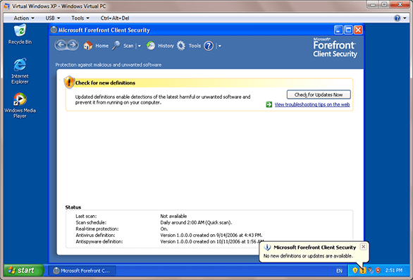 No new definitions or updates are available for Microsoft Forefront Client Security