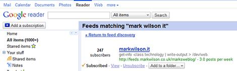 Google Reader Subscribers